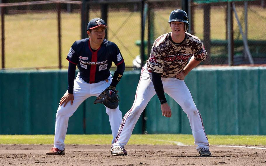 The Japan Military WarDogs play a Japanese team called the Fighting Birds earlier this year at Yokosuka Naval Base, Japan.