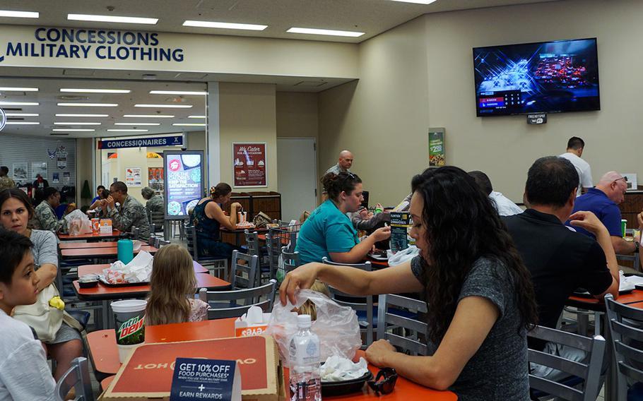Customers eat lunch at the Yokota Community Center food court at Yokota Air Base, Japan, Friday, Aug. 31, 2018.
