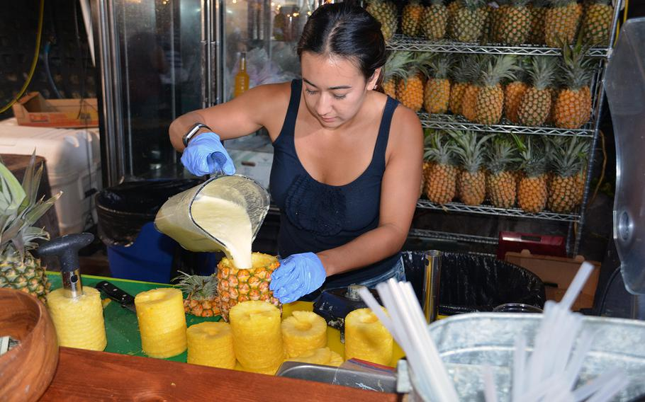 Blue Water offers pineapple smoothies served inside hollowed-out pineapple shells.