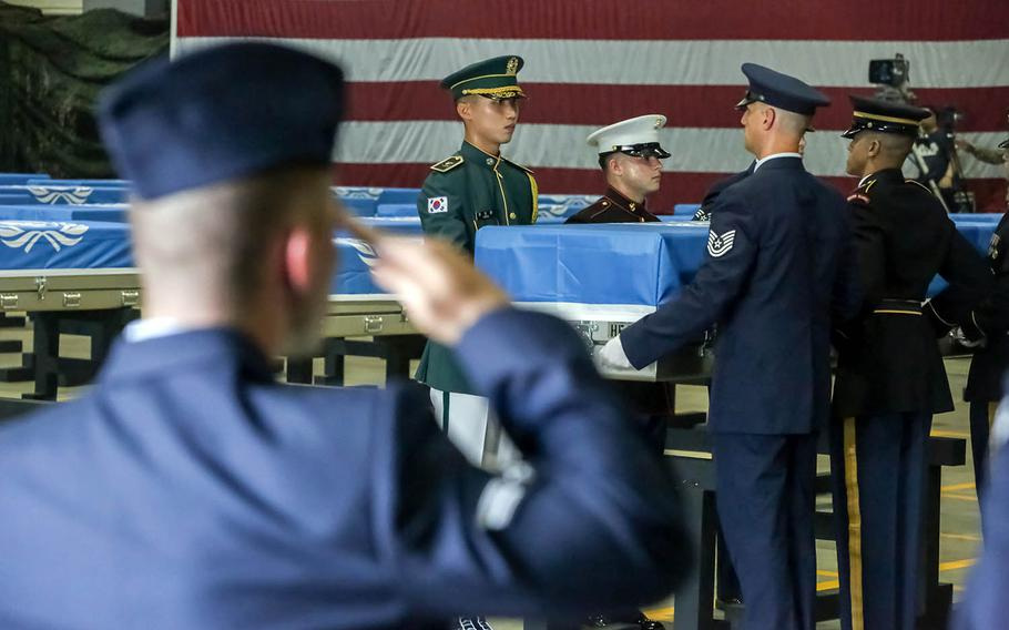 Members of the United Nations Command Honor Guard take part in a repatriation ceremony at Osan Air Base, South Korea, Aug. 1, 2018.