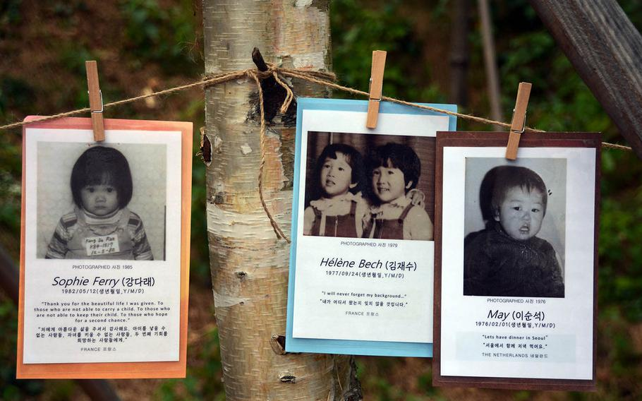 Photos of South Korean children who were adopted by Americans or other Westerners hang from trees as part of a memorial park at the former U.S. military base Camp Howze in Paju, South Korea, Sept. 12, 2018.