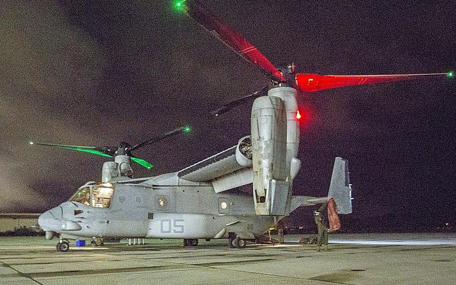 An MV-22 Osprey with Marine Medium Tiltrotor Squadron 268 stands on the flight line at Marine Corps Base Hawaii, Sept. 28, 2018, after completing a trans-Pacific flight from Darwin, Australia.