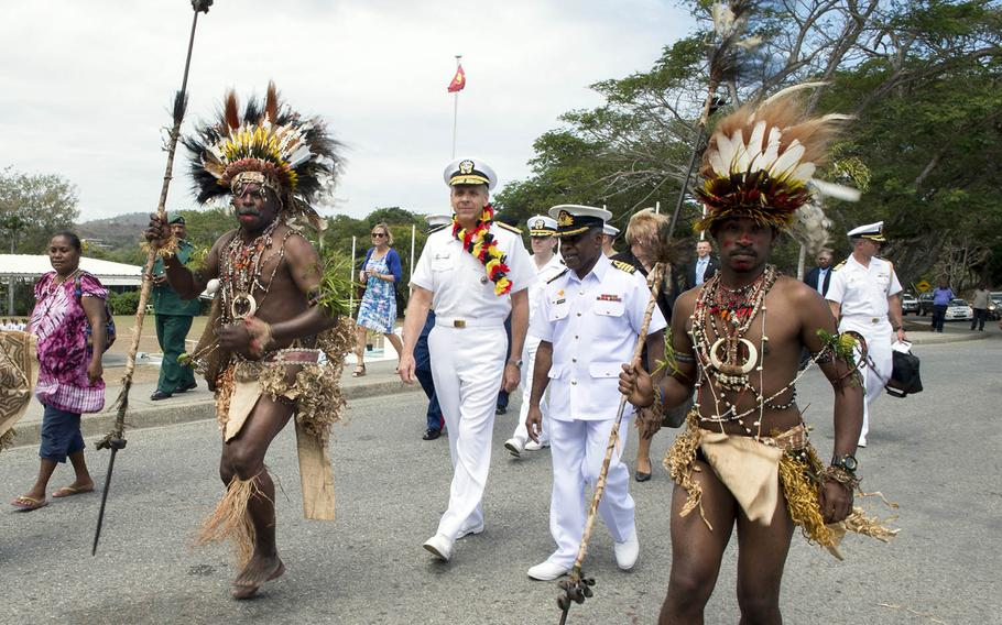 Adm. Phil Davidson, commander of Indo-Pacific Command, participates in a traditional Papua New Guinea welcome ceremony in Port Moresby, Aug. 22, 2018.