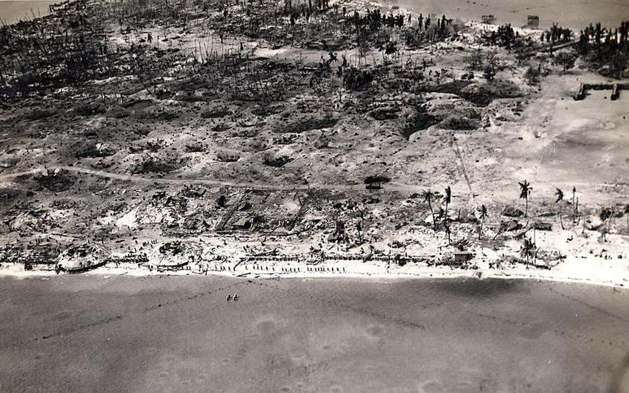 This aerial view of Betio Island in the Tarawa atoll, Gilbert Islands, was taken on Nov. 24, 1943.