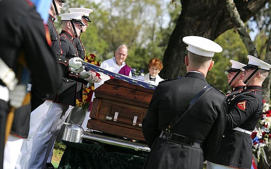 Marines render military honors for 1st Lt. Alexander Bonnyman Jr. in Knoxville, Tenn., on Sept. 27, 2015. He was killed during the Battle of Tarawa in 1943, and was posthumously awarded the Medal of Honor for his actions there.