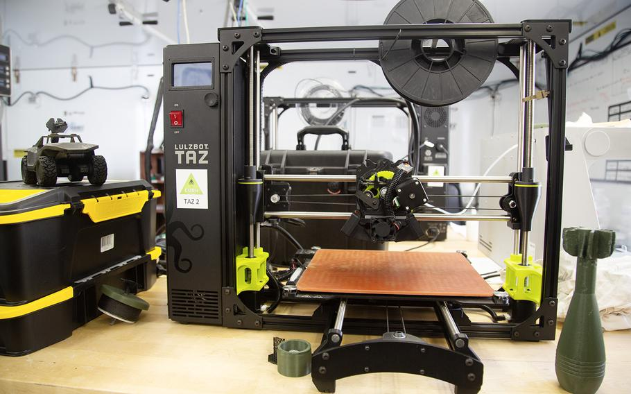 One of five 3-D printers used by the Army's Rapid Fabrication via Additive Manufacturing on the Battlefield facility at Camp Humphreys, South Korea, Monday, Oct. 29, 2018.