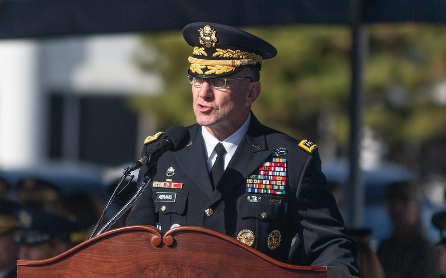 Gen. Robert Abrams, U.S. Forces Korea commander, speaks during a repatriation ceremony at Yongsan Garrison in Seoul, South Korea, Tuesday, Nov. 20, 2018.