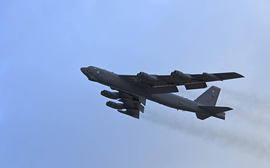 An Air Force B-52 Stratofortress bomber takes off earlier this year from Andersen Air Force Base, Guam.
