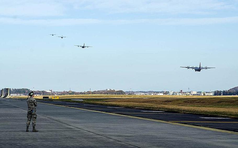 C-130J Super Hercules aircraft from the 36th Airlift Squadron take off for the Samurai Surge exercise at Yokota Air Base, Japan, Thursday, Nov. 29, 2018.