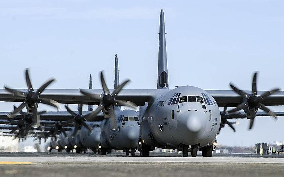Eleven C-130J Super Hercules aircraft from the 36th Airlift Squadron participate in the Samurai Surge exercise at Yokota Air Base, Japan, Thursday, Nov. 29, 2018.