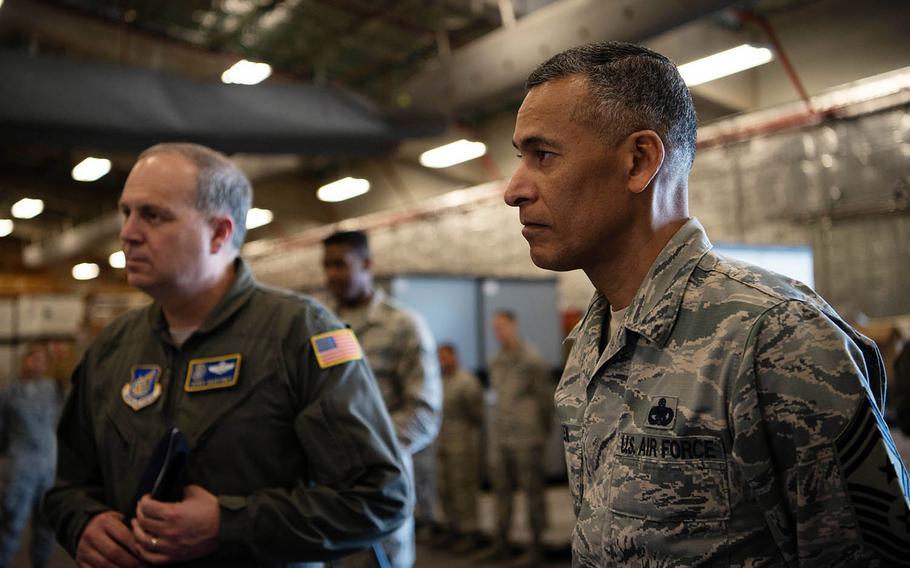 U.S. Forces Japan commander Lt. Gen. Jerry Martinez, left, and Chief Master Sgt. Terrence Greene visit Kadena Air Base, Japan, last month.