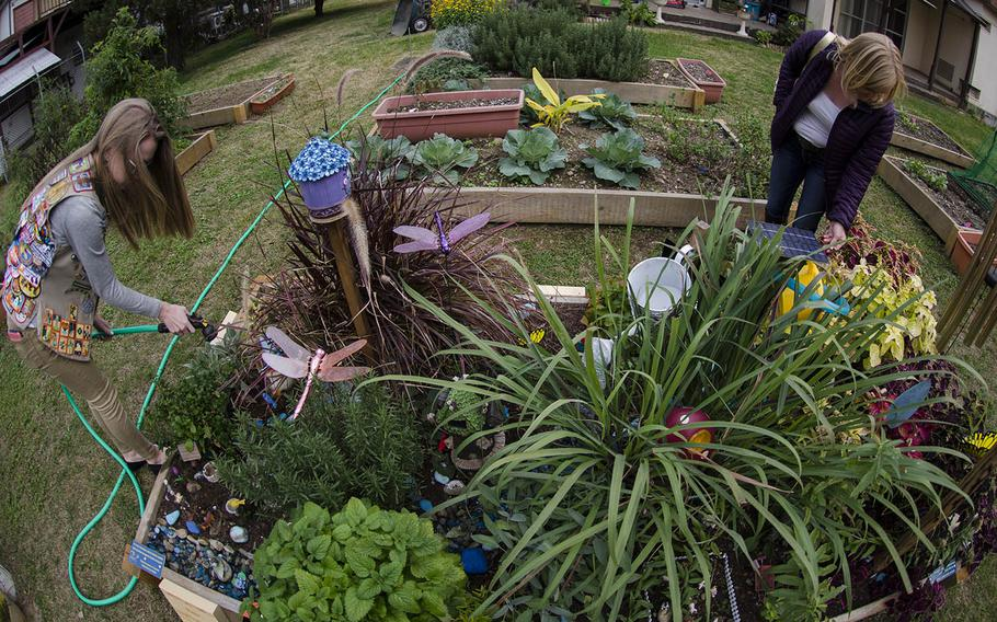 Yokota High School student Emma Remley works in a sensory garden she designed at Yokota Air Base, Japan, Monday, Nov. 26, 2018.
