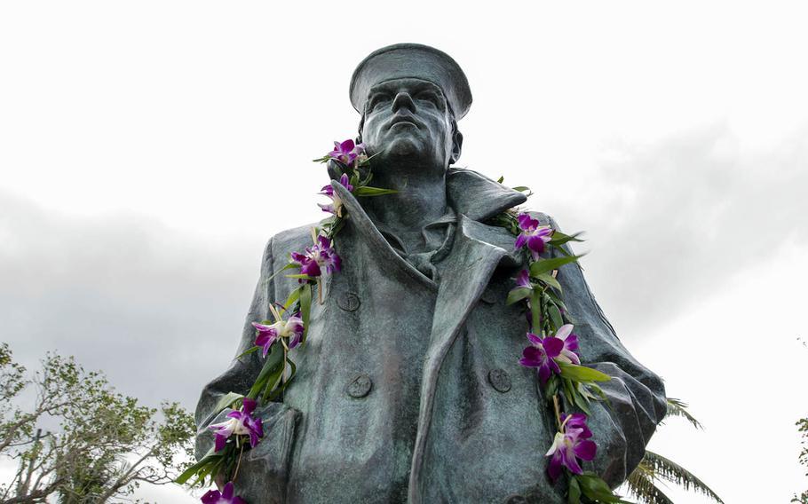 A Lone Sailor statue stands watch at the Ricardo J. Bordallo Governor's Complex in Hagatna, Guam, Dec. 15, 2018.