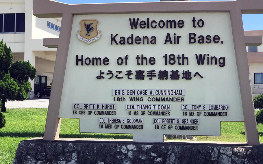 A sign near the Kadena Air Base flight line welcomes arrivals to the home of the 18th Wing in Okinawa, Japan, Sept. 17, 2018.