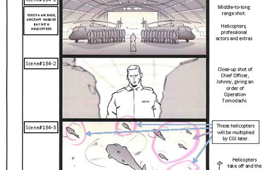 """Storyboard drawings of the """"Fukushima 50"""" scenes to be shot at Yokota Air Base, Japan, include airmen standing in formation in a hangar, a command center meeting of military officers and helicopters swarming in the sky."""