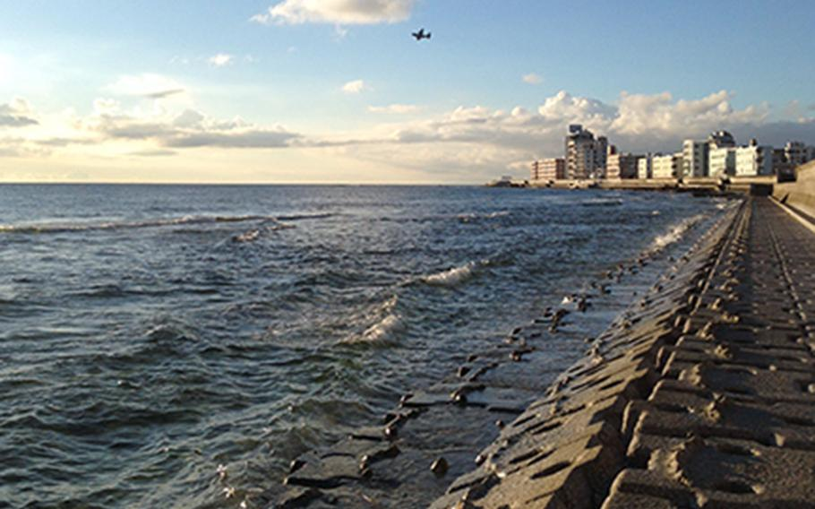 A stretch of the Okinawa seawall is seen recently in Chatan, Okinawa.