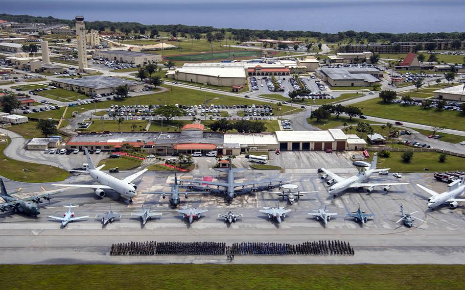 Cope North participants from the U.S. Air Force, Royal Australian Air Force and Japan Air Self-Defense Force pose at Andersen Air Force Base, Guam, Feb. 20, 2019.