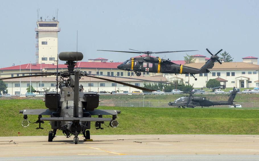 Camp Humphreys in South Korea has a bustling airfield that includes helicopters from the 2nd Combat Aviation Brigade.