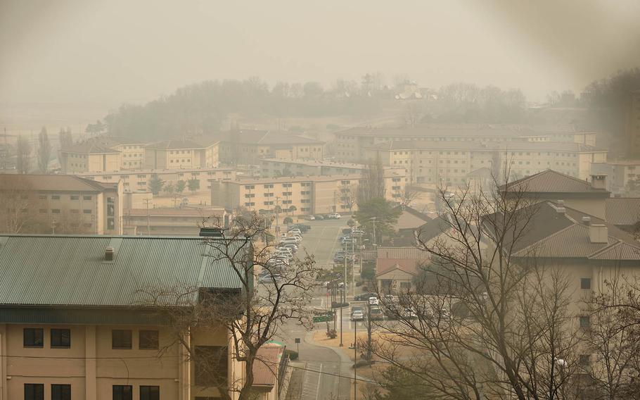 Haze surrounds the barracks at Osan Air Base, South Korea, Wednesday, March 6, 2019.