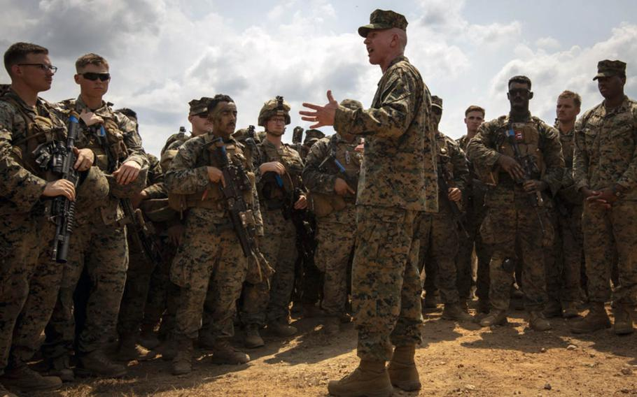 U.S. Marine Corps Lt. Gen. Eric Smith, shown here speaking to troops Feb. 20, 2019, in Thailand, has loosened driving restrictions for III MEF Marines and sailors in Japan.
