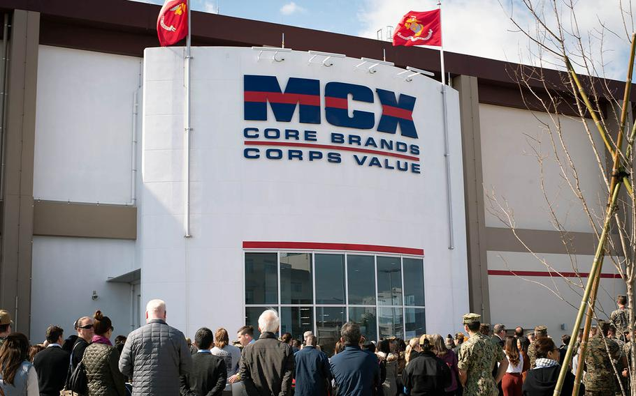 Marines, sailors and their families gather for the opening Thursday, March 14, 2019, of the new Marine Corps Exchange at Marine Corps Air Station Iwakuni, Japan.