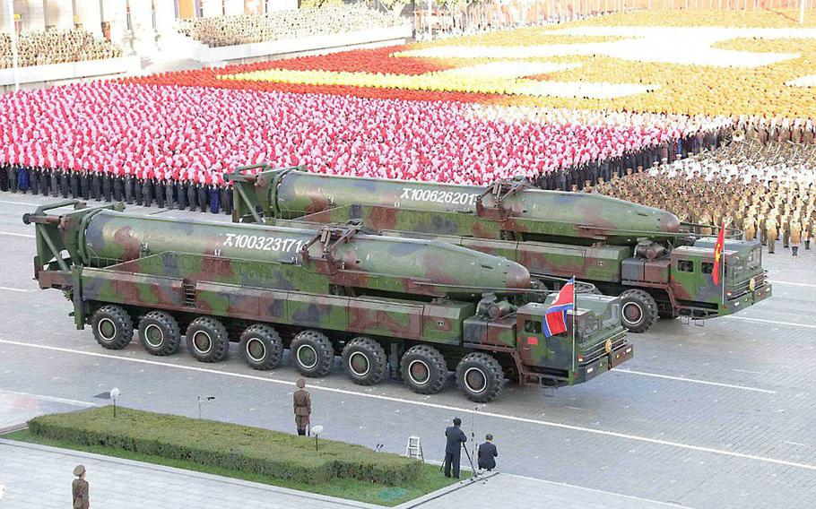 North Korea's KN-08 intercontinental ballistic missile is publicly displayed during a military parade in October 2016.