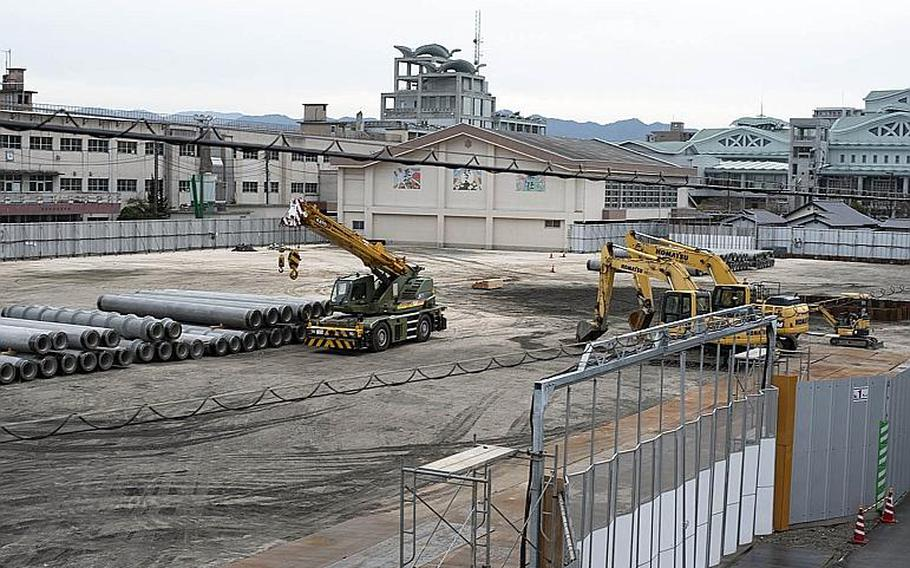 An unexploded bomb from World War II was removed from a construction site near Marine Corps Air Station Iwakuni, Japan, Sunday, March 17, 2019.
