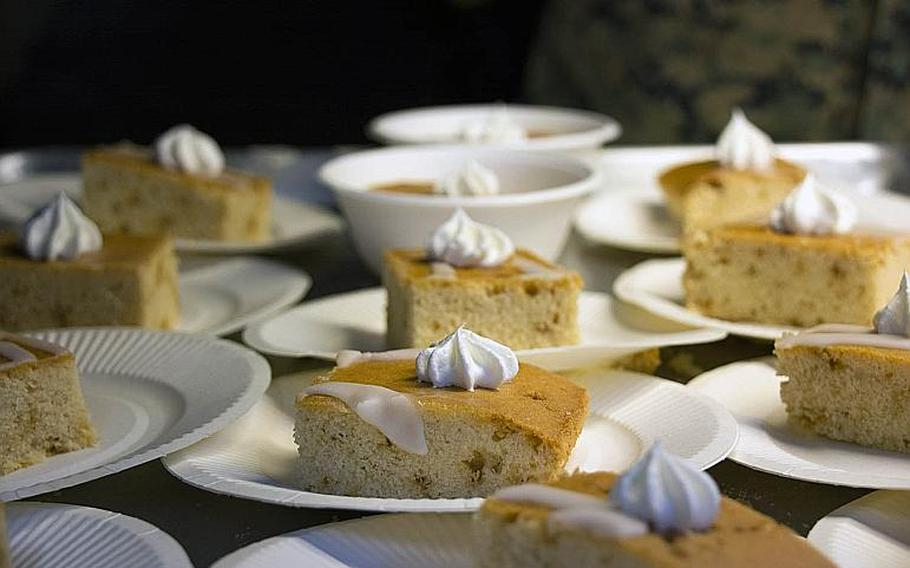 Desserts are prepared by Combat Logistics Regiment 37 to serve during the W.P.T. Hill award competition at Camp Kinser, Okinawa, Japan, on March 14, 2019.