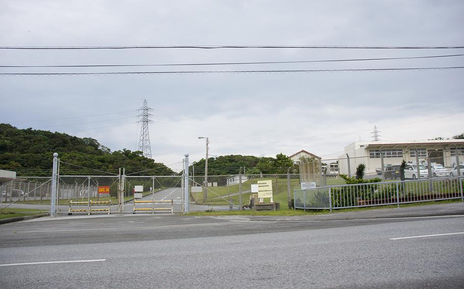A closed gate is seen at Camp Foster, Okinawa, Monday, March 25, 2019.