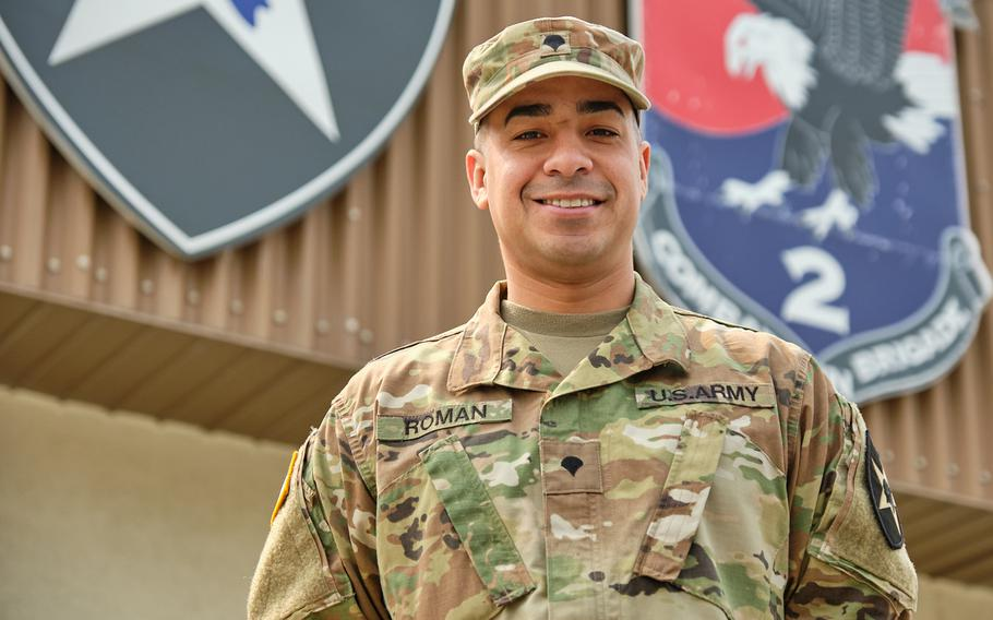Spc. Jonathan Roman Rios, of the 2nd Combat Aviation Brigade, 2nd Infantry Division, poses at Camp Humphreys, South Korea, Monday, March 25, 2019.