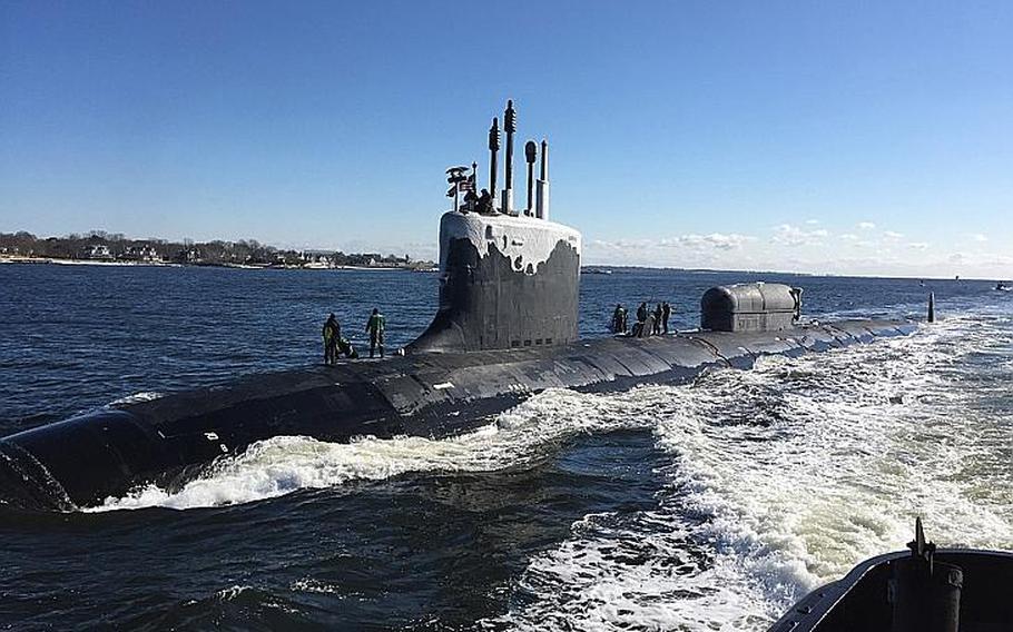 The Virginia-class fast-attack submarine USS North Dakota pulls into Naval Submarine Base New London in Groton, Conn., Jan. 31, 2019.