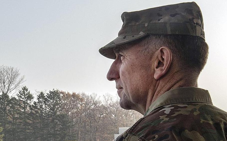 Gen. Robert Abrams, commander of U.S. Forces Korea and United Nations Command, looks out over the Joint Security Area of the Korean Demilitarized Zone, Nov. 10, 2018.