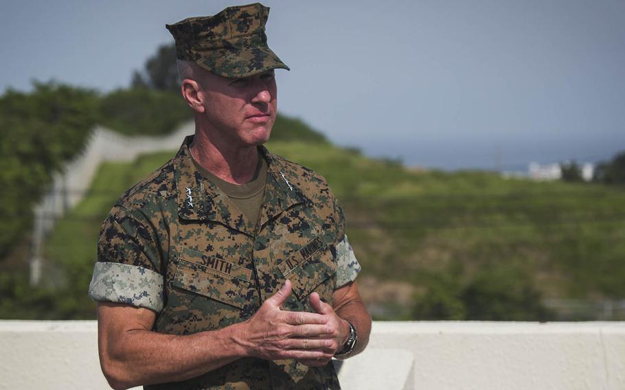 Lt. Gen. Eric Smith speaks at Camp Foster, Okinawa, Aug. 2, 2018.