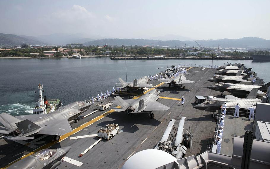 The amphibious assault ship USS Wasp arrives in Subic Bay, Philippines, for annual Balikatan drills, Saturday, March 30, 2019.