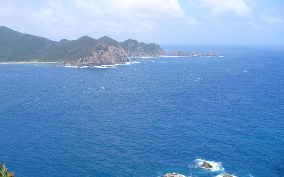 Ankyaba battery on Kakeromajima is seen in 2006 from the southern coast of Amami Oshima in Kagoshima prefecture, Japan.