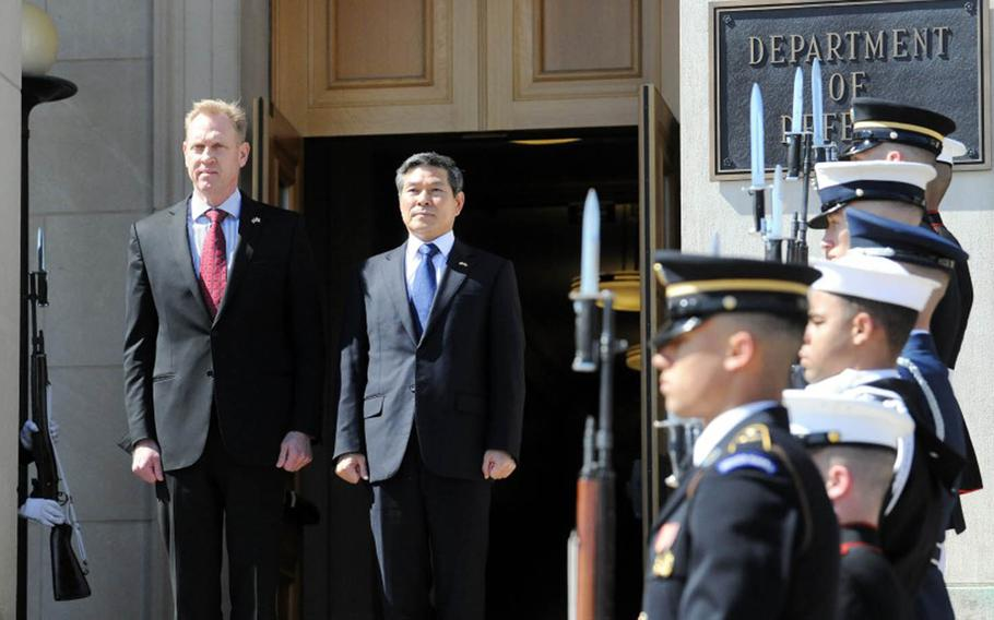 Acting Defense Secretary Pat Shanahan, left, held talks with his South Korean counterpart, Jeong Kyeong-doo, right, in Washington, D.C., Monday, April 1, 2019.