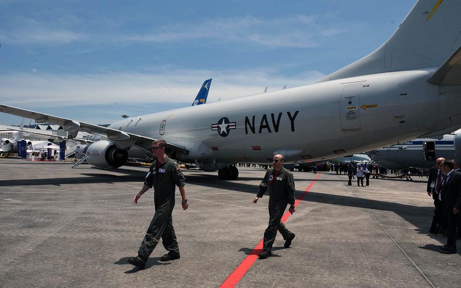 A U.S. Navy P-8A Poseidon sits on display at the 2019 Langkawi International Maritime and Aerospace Exhibition at Padang Mat Sirat, Malaysia, March 26, 2019.