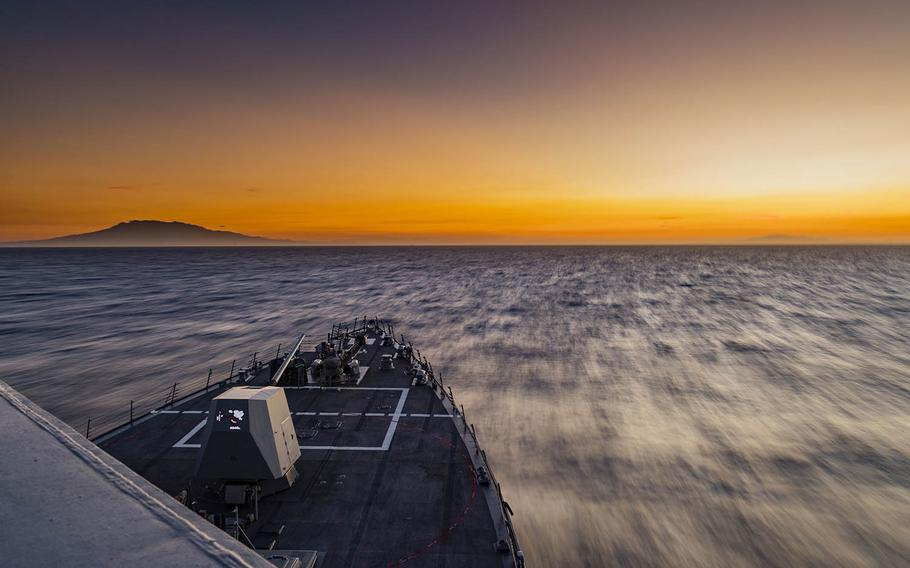 The guided-missile destroyer USS Michael Murphy transits the South China Sea in February 2018.