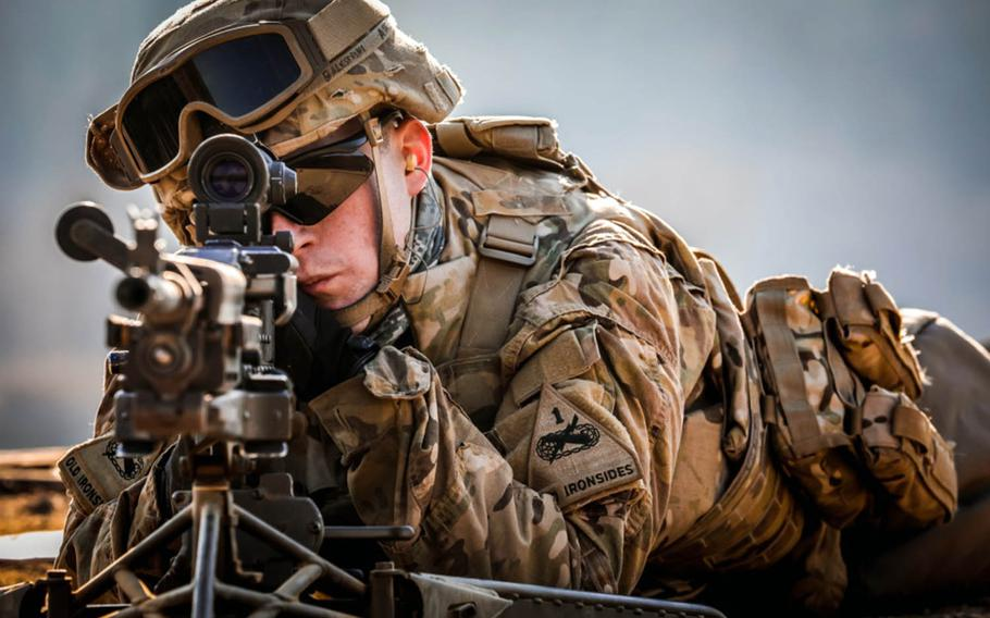 S. Korea's parliament agreed Friday to pay a higher share of the cost to keep U.S. troops there, like Sgt. James Balestrini, shown here on a firing range in South Korea on Jan. 25, 2019.