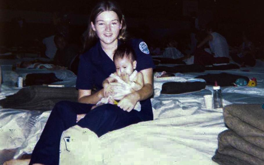 Shirley Mizell, then a junior at Wagner High School on Clark Air Base, Philippines, helped care for Vietnamese orphans evacuated ahead of the fall of Saigon in April 1975.