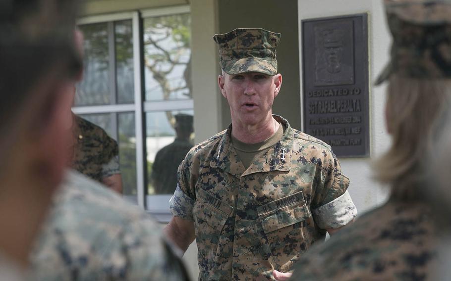 Lt. Gen. Eric Smith, III Marine Expeditionary Force commander, visits the 31st Marine Expeditionary Unit at Camp Hansen, Okinawa, Aug. 8, 2018.