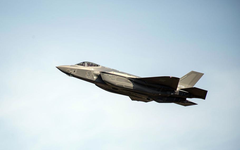 A Japan Air Self-Defense Force F-35A soars over Misawa Air Base, Japan, Nov. 2, 2017.