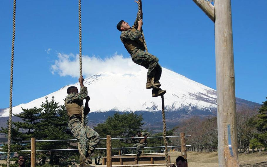 Mount Fuji provides the backdrop to Marine Corps martial arts training at Combined Arms Training Center Camp Fuji, Gotemba, Japan, on Wednesday, April 10, 2019.