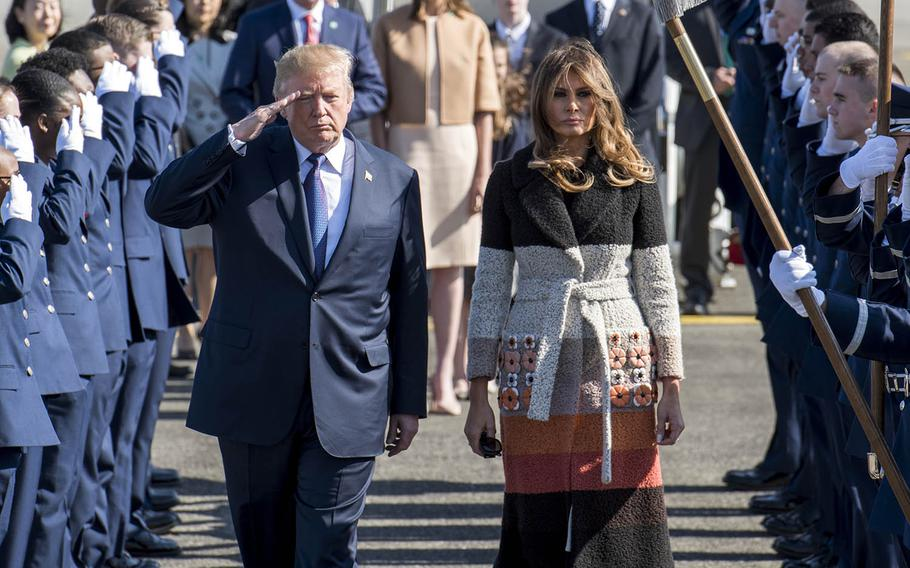 President Donald Trump and first lady Melania Trump arrive at at Yokota Air Base, Japan, Nov. 5, 2017. The visit marked the first time Trump came to Japan as president.