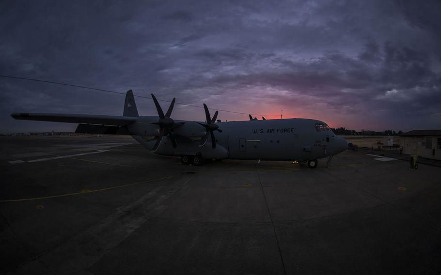 A C-130J Super Hercules sits on the wash rack at Yokota Air Base, Japan, on March 21, 2019.