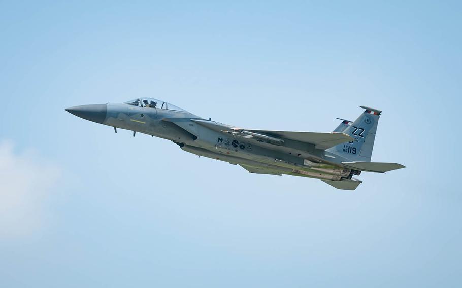 An F-15C Eagle takes off from Kadena Air Base, Japan, April 3, 2019.