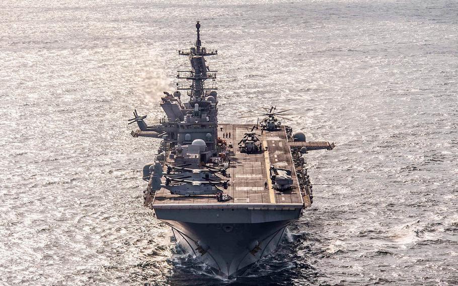 The amphibious assault ship USS America steams in the Arabian Gulf, Nov. 28, 2017.