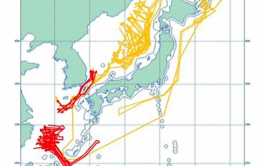Chinese aircraft that approached Japanese airspace during fiscal year 2018 are represented by red lines, while Russian aircraft are marked by yellow lines in this graphic from the Japan Joint Staff.