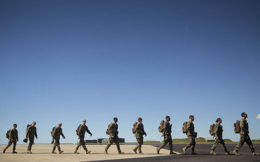 U.S. Marines arrive in Australia for Marine Rotational Force - Darwin, April 12, 2019.