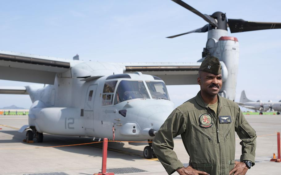 Capt. Jerome Miller of Marine Tilt Rotor Squadron 265 talks about flying the V-22 Osprey as part of the Marine Air Ground Task Force demonstration during Friendship Day 2019 at Marine Corps Air Station Iwakuni, Japan, Sunday, May 5, 2019.